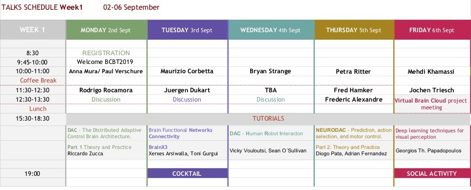 TALKS SCHEDULE Week1 02-06 September